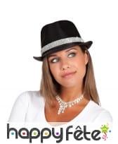 Chapeau noir avec ruban de brillants