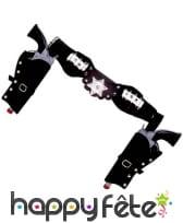 Ceinture noire double holster pour adulte