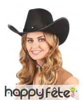 Chapeau noir de cowboy pour adulte, image 1