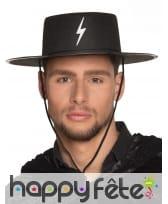Chapeau noir de justicier masqué pour adulte