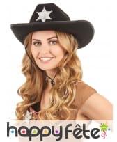 Chapeau noir de sherif avec étoile, image 1
