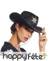 Chapeau noir de shérif pour adulte
