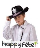 Chapeau noir de shérif pour enfant