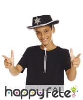 Chapeau noir de shérif pour petit garçon