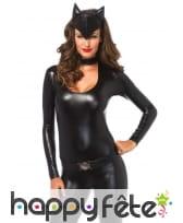 Combinaison noire moulante de chat sexy, image 1