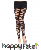 Collants noirs sans pieds lacérés pour adulte