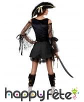Costume noir satiné et dentelle de piratesse, image 1