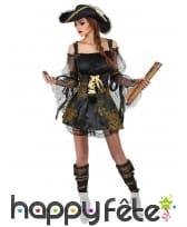 Costume noir satiné et dentelle de piratesse