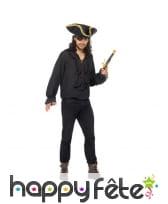 Chemise noire unie de pirate