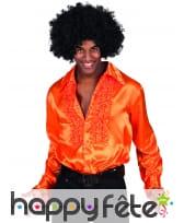 Chemise orange disco à grand col pour homme