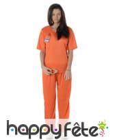 Combinaison orange de femme prisonnier