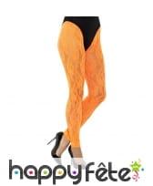 Collant orange et dentelle sans pieds