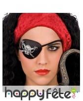 Cache oeil noir de pirate avec tête de mort