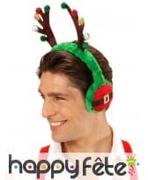 Cache oreilles Renne aux couleurs de Noël adulte, image 1