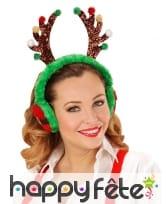 Cache oreilles Renne aux couleurs de Noël adulte