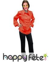 Chemise orange super ruche femme