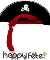 Chapeau pirate avec bandeau rouge