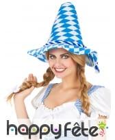 Chapeau pointu bleu et blanc Oktoberfest, image 1