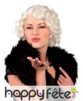 Courte perruque blonde platine bouclée, cabaret