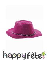 Chapeau plastique cde owboy paillette fuschia, image 1