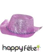 Chapeau plastique cde owboy paillette fuschia
