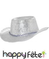 Chapeau plastique de cowboy pailletté argenté