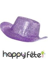 Chapeau plastique de cowboy paillette lilas