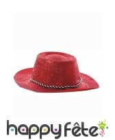 Chapeau plastique de cowboy pailletté rouge, image 1
