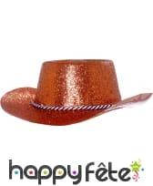 Chapeau plastique de cowboy pailletté rouge