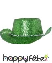 Chapeau plastique de cowboy pailletté vert