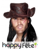 Chapeau pirate en simili marron avec cheveux