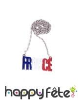 Collier pendentif France aux couleurs du drapeau