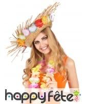 Chapeau paille Hawaïen avec fleurs sur le contour, image 1