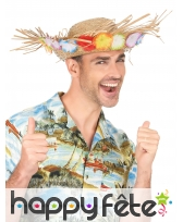 Chapeau paille Hawaïen avec fleurs sur le contour, image 2