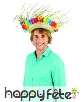 Chapeau paille Hawaïen avec fleurs sur le contour, image 3