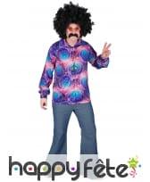 Chemise psychédélique hippie motifs violets