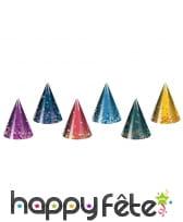 Chapeau pointu métallisé et coloré 23 cm