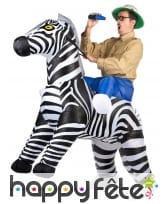Costume Porte Moi gonflable de zèbre pour adulte