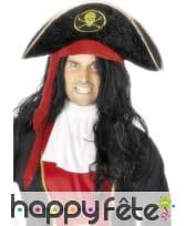 Chapeau pirate noir tête mort, image 1