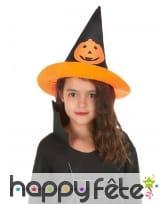 Chapeau pointu noir avec citrouille pour enfant, image 1