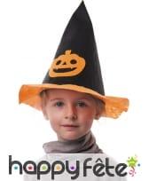 Chapeau pointu noir avec citrouille pour enfant, image 2