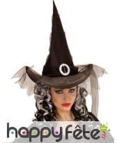 Chapeau pointu noir avec voile et boucle