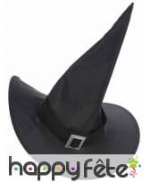 Chapeau pointu noir de sorcière avec boucle