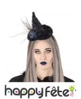 Chapeau pointu noir de sorcière sur serre-tête