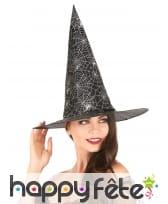 Chapeau pointu noir imprimé toile blanche, image 1