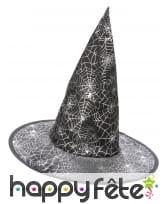 Chapeau pointu noir imprimé toile blanche