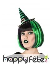 Chapeau pointu noir vert sur serre tête, adulte