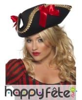 Chapeau pirate pour femme rouge noir