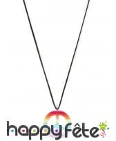 Collier pendentif peace and love multicolore