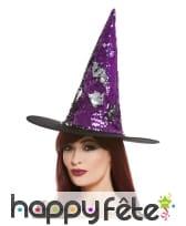 Chapeau pointu réversible violet noir à paillettes, image 1